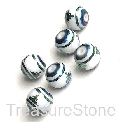 Bead, glass, 8mm round, peacock, yoga. pack of 8.