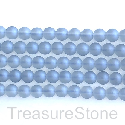 "Bead, glass, 8mm round, blue, matte, frosted. 16"", 50pcs"