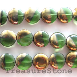 Bead, glass, green, 12mm coin. 24pcs