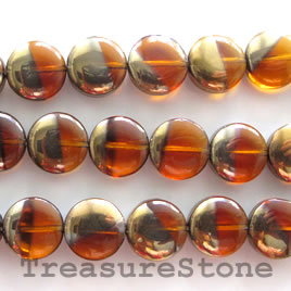 Bead, glass, brown and gold, 12mm flat round. 11-inch strand.