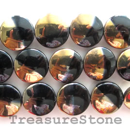Bead, glass, black and gold, 20 mm flat round. 15pcs