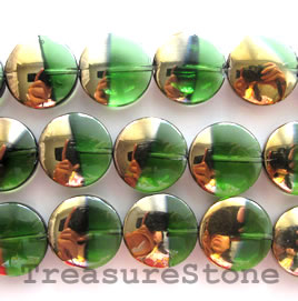 Bead, glass, green, 15mm coin. Sold per 20 inch strand.