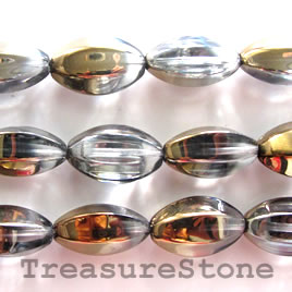 Bead, glass, grey, 11x20mm faceted oval. 14pcs