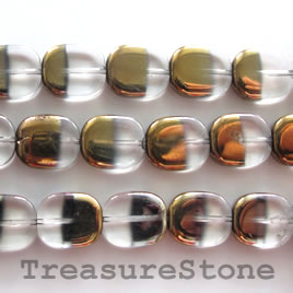 Bead, glass, clear, 12x14mm rounded rectangle. 13 inch strand.