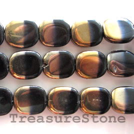 Bead, glass, black and gold, 12x14mm rectangle. 24pcs