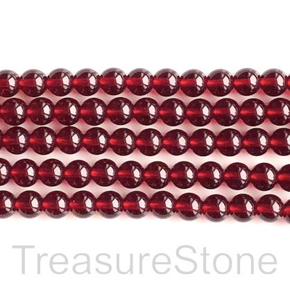 Bead, glass, 8mm round, garnet red. 16 inch, 52pcs