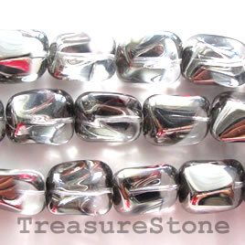 Bead, glass, clear, 11x14x18mm nugget. 14pcs