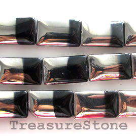 Bead, glass, black and silver, 12x21mm flat rectangle. 14pcs