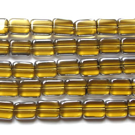 Bead, glass, yellow and silver, 6x7mm rectangle. 11.5-inch
