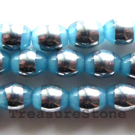 Bead, glass, light blue, 6x8mm oval. Sold per 11 inch strand.