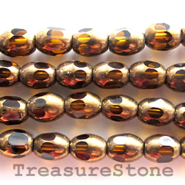 Bead, glass, brown, 6x8mm oval. 12-inch strand.
