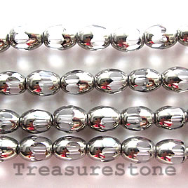 Bead, glass, clear, 6x8mm oval. Sold per 12 inch strand.