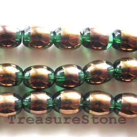 Bead, glass, emerald, 6x8mm oval. Sold per 11 inch strand.