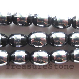 Bead, glass, black and silver, 7x8mm oval. 11-inch strand.