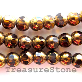 Bead, glass, brown, 8mm round. Sold per 12inch strand.