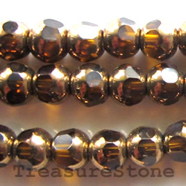 Bead, glass, brown and gold, 6mm round. 11.5-inch strand.