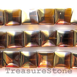 Bead, glass, brown and gold, 15mm flat square. 20pcs