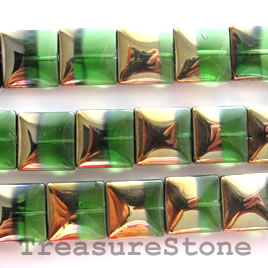 Bead, glass, green, 15mm flat square. 20pcs