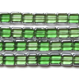 Bead, glass, green and silver, 8mm square. 12-inch
