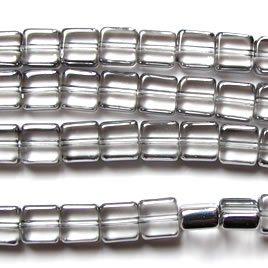 Bead, glass, clear and silver, 8mm square. 12.5-inch