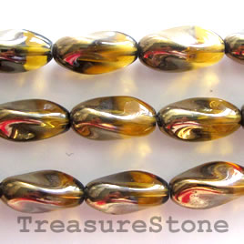 Bead, glass, brown, 9x18mm twist. 16pcs
