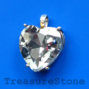 Pendant, glass, 25mm heart. Sold individually.