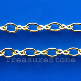 Chain, brass, gold-finished, 2x3.5mm. Sold per pkg of 1 meter.
