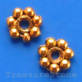 Bead, antiqued gold-finished, 5mm daisy. Pkg of 30.