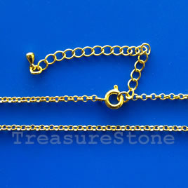 Chain, gold-finished brass 1.5mm rolo, 18 inch. Each