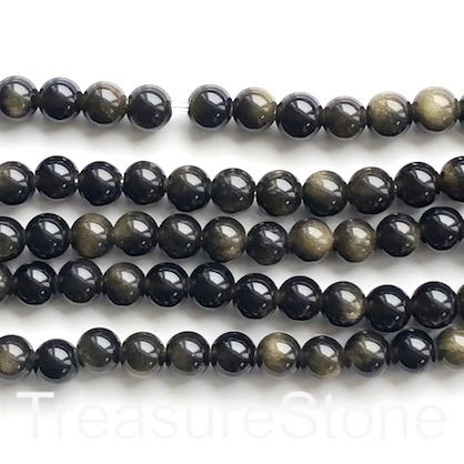 "Bead, gold sheen obsidian, 8mm round, large hole, 2mm, 15"", 48"