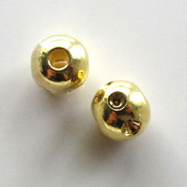 Bead, gold-plated brass, 6mm carved round, pkg of 10 pcs