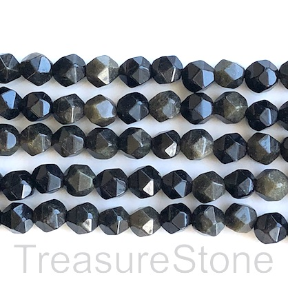 "Bead, golden sheen obsidian, 8mm faceted, star cut. 15.5"", 49pcs"