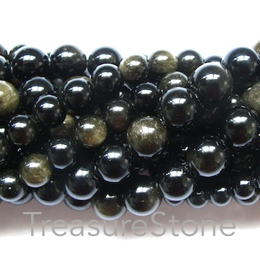 Bead, golden sheen obsidian, 8mm round. 16-inch