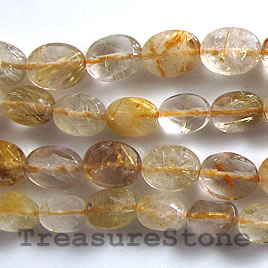 Bead, gold rutilated quartz, 8x10x4mm faceted oval. 16-inch.