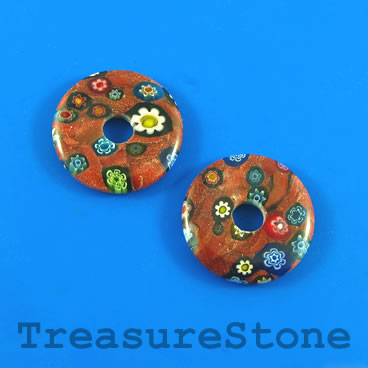 Bead, brown goldstone, 25mm disc donut. Pack of 3.
