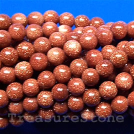 Bead, brown goldstone, 4mm round. 16-inch strand.