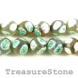 Bead, agate (dyed), green pattern, 10mm faceted round. 14.5-inch