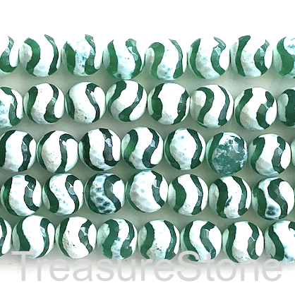 "Bead, agate, green, pattern 7, 8mm faceted round. 15"", 47pcs"