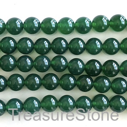 Bead, agate (dyed), green, 10mm round. 15.5-inch, 38pcs