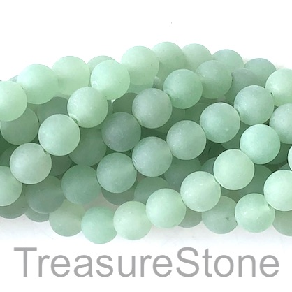 Bead, green aventurine, 8mm round matt. 15-inch, 47pcs.