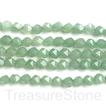 "Bead, green aventurine, 8mm, faceted nugget, star cut. 14.5"", 46"