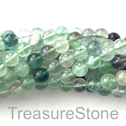 Bead, green Fluorite, 8mm round. 15 inch. 48pcs