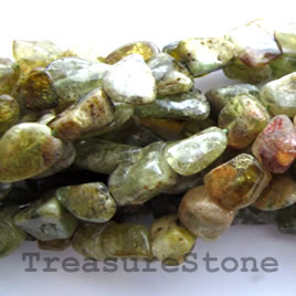 Bead, green garnet, nugget, 10mm. 16-inch strand.