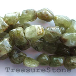 Bead, green garnet, nugget 2, about 11mm. 16-inch strand.