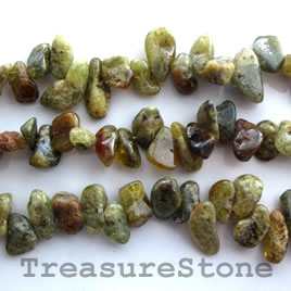 Bead, green garnet, top-drilled, about 8x12mm, 16-inch strand.