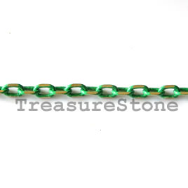 Chain,brass, green-gold finished,2x4mm rectangle. Pkg of 1 meter