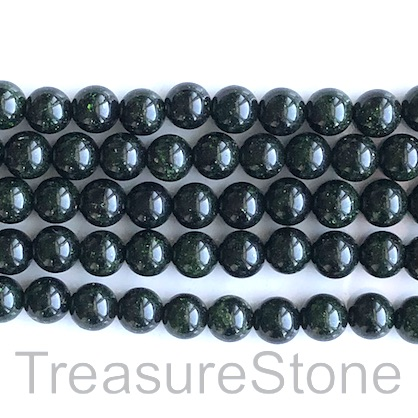 Bead, green goldstone (manmade), 8mm round. 14.5-inch, 48pcs