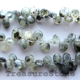 Bead, prehnite, top-drilled Chip. 15.5-inch strand.
