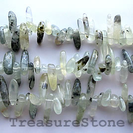 Bead, prehnite, top-drilled long Chip, 16-inch strand.