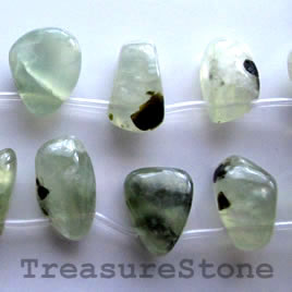 Bead/pendant, prehnite, 13x20mm topdrilled freeform. Pkg of 20.
